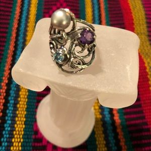 Or Paz Sterling Silver Gemstone & Pearl Ring